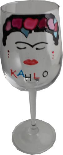 Frida Kahlo Luxury Wine Glass with Crystals (Face)