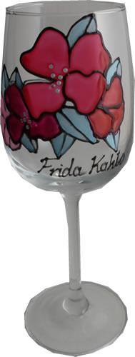 Frida Kahlo Luxury Wine Glass: with Crystals (Flower)