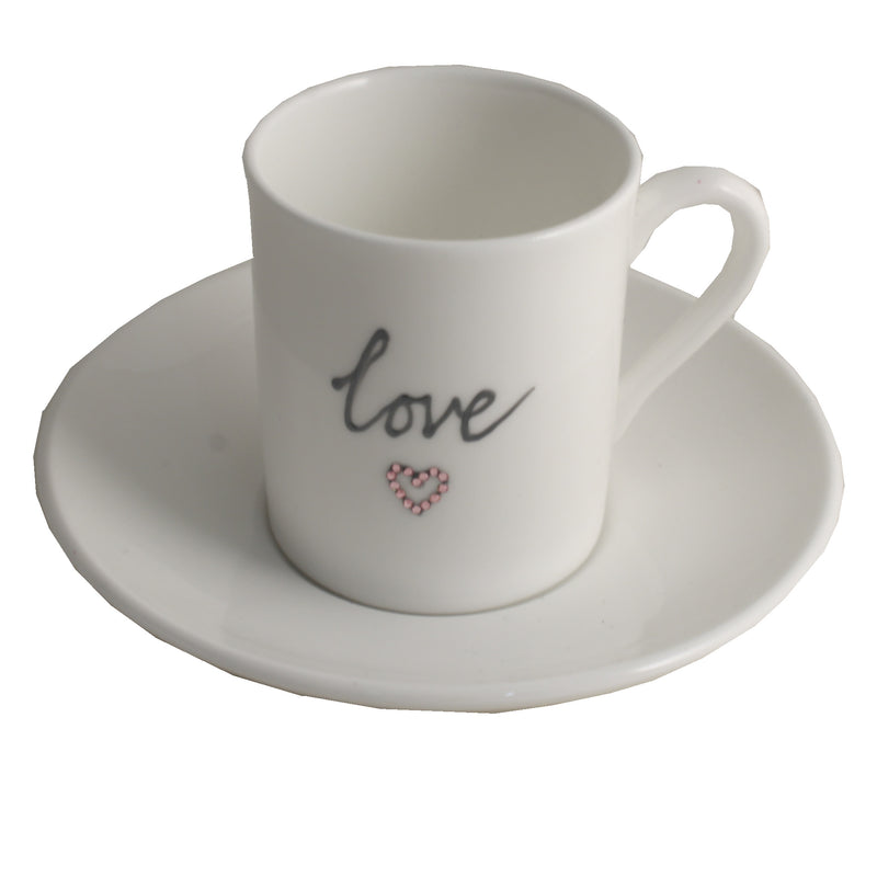 Love Fine Bone China Espresso Cup and Saucer with crystals
