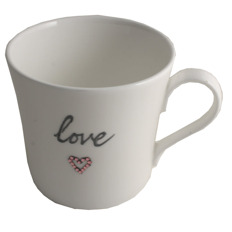 Love Fine Bone China Mug: with crystals