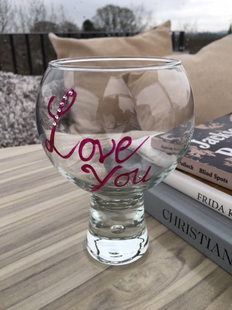 Love You Gin and Tonic: Glass with Crystals (Magenta)