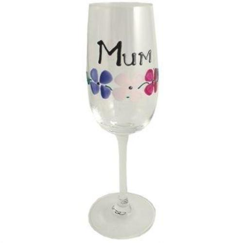 Mum Gift Fluted Champagne Glass: (Flowers)