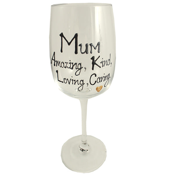 Mum Wine Glass (Black/Silver)