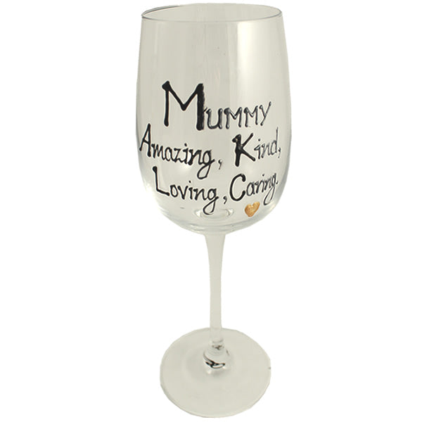 Mummy Design Gift Wine Glass: (Black/Silver)