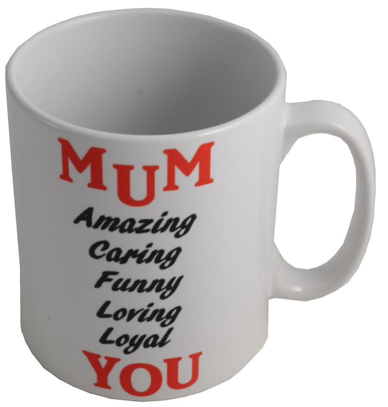 MUM Gift Ceramic Printed Mug: (Black/Red)