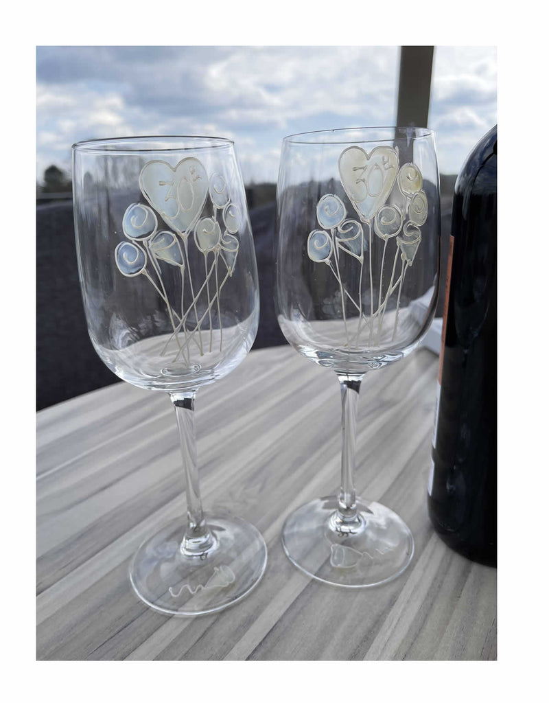 30th Anniversary Wine Glasses Flower