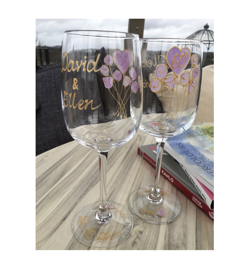 Personalised 60th Anniversary Drinking Wine Glasses