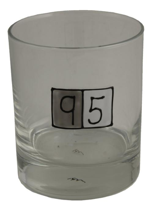 95th Birthday Whisky Glass Grey Sq