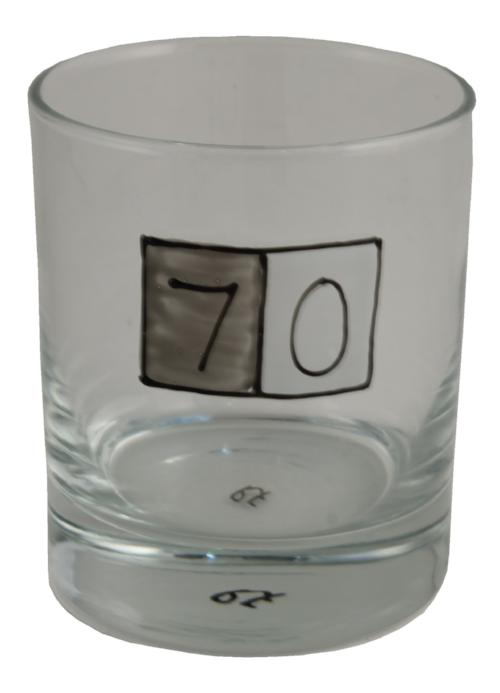 70th Birthday Whisky Glass Grey Sq