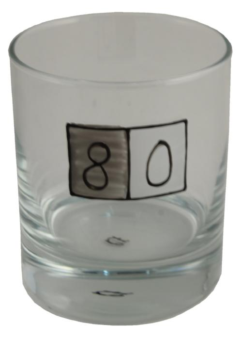 80th Birthday Whisky Glass Grey Sq