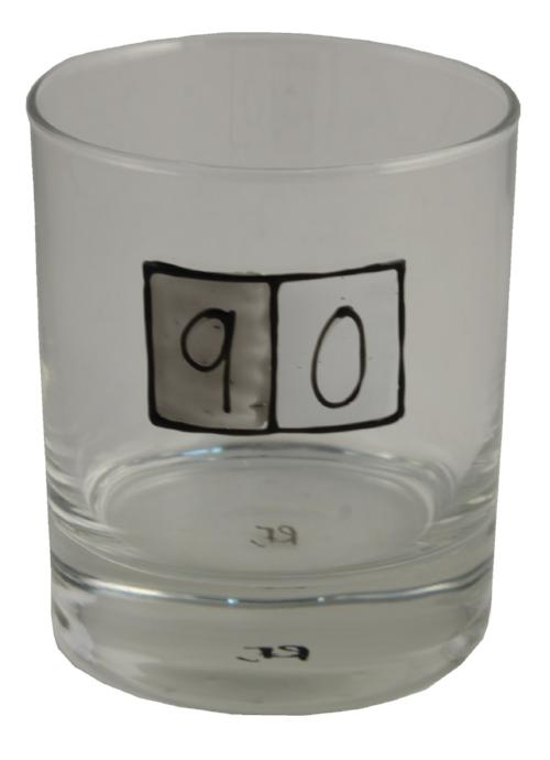90th Birthday Whisky Glass Grey Sq