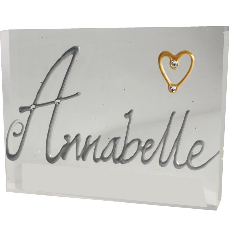 Personalised Gift Rectangle Art Block: Silver with crystals