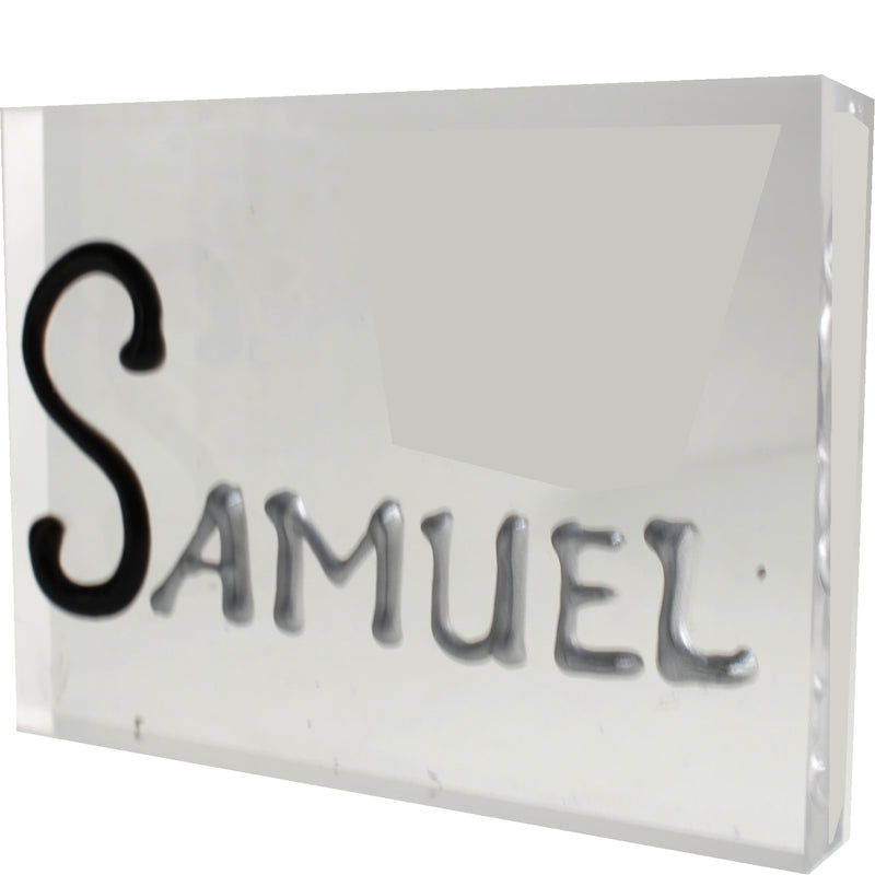 Personalised Gift Rectangle Art Block: Black/Silver
