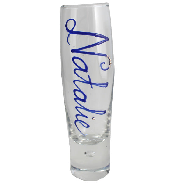 Personalised Gift Champagne Flute Glass: with Crystals (Blue)
