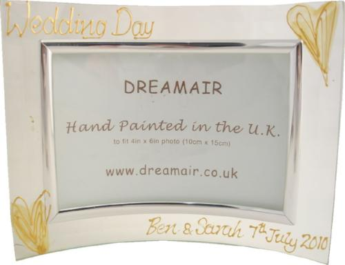 Personalised Wedding Day Land Gold Hearts