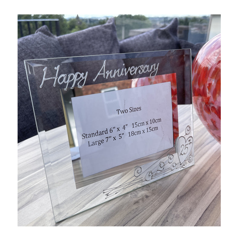 25th Wedding Anniversary Gift Photo Frame Landscape (Flwr)