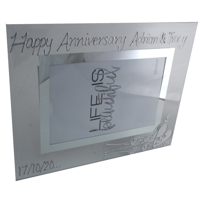 Personalised 25th Wedding Anniversary Photo Frame Land Flower
