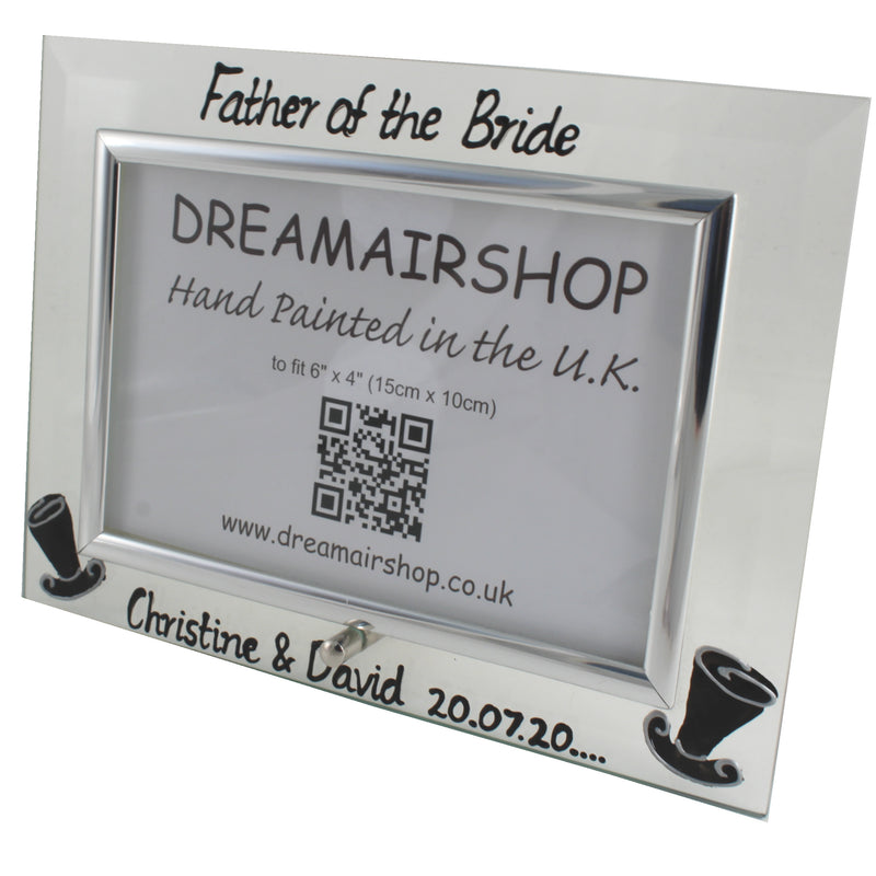 Personalised Father of the Bride Photo Frame Land (Top Hats)