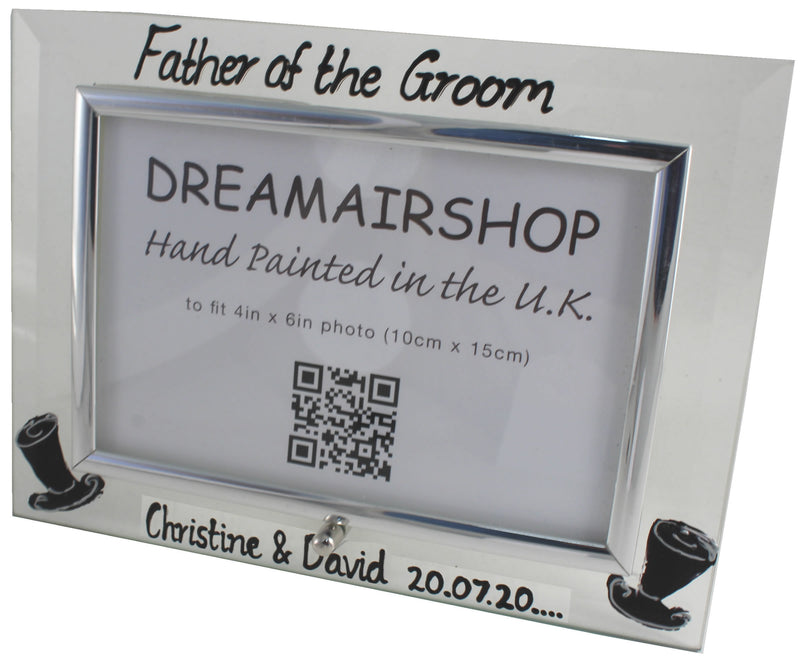 Personalised Father of the Groom Photo Frame Land (Top Hats)