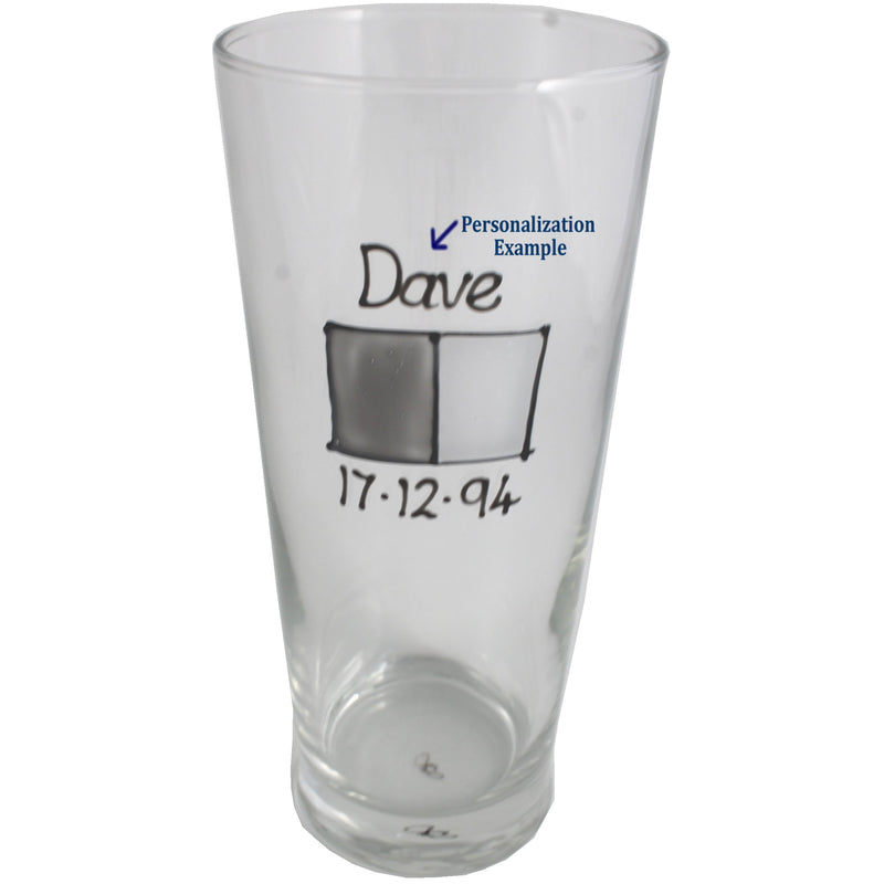 Personalised Pint Glass Grey Sq