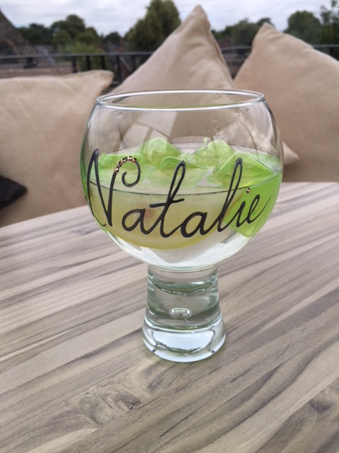 Personalised Gin and Tonic Glass: with Crystals (Silver)