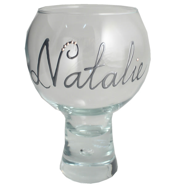 Personalised Gin and Tonic Glass with Crystals (Silver)