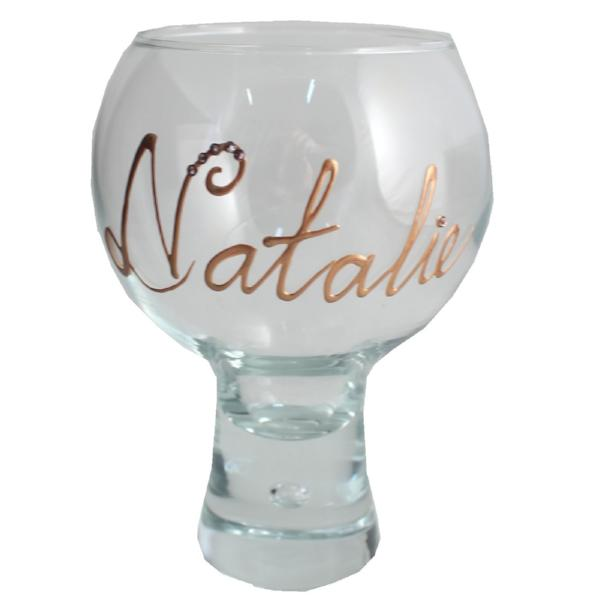 Personalised Gin and Tonic Glass with Crystals (Copper)