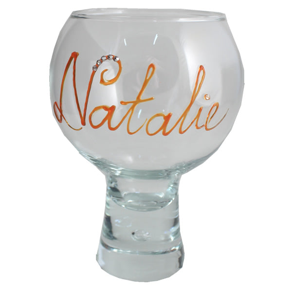 Personalised Gin and Tonic Glass: with Crystals (Orange)