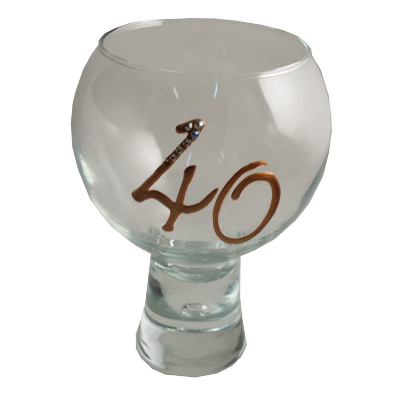 40th Birthday Gin and Tonic Glass with Crystals (Copper)