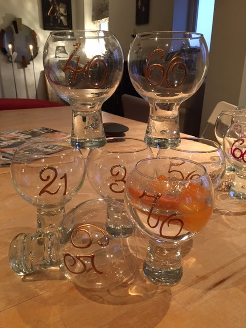 60th Birthday Gin and Tonic: Glass with Crystals (Copper)