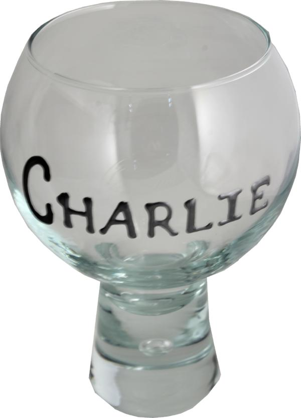 Personalised Bubble Gin and Tonic, Wine Large Glass Blk/Sil