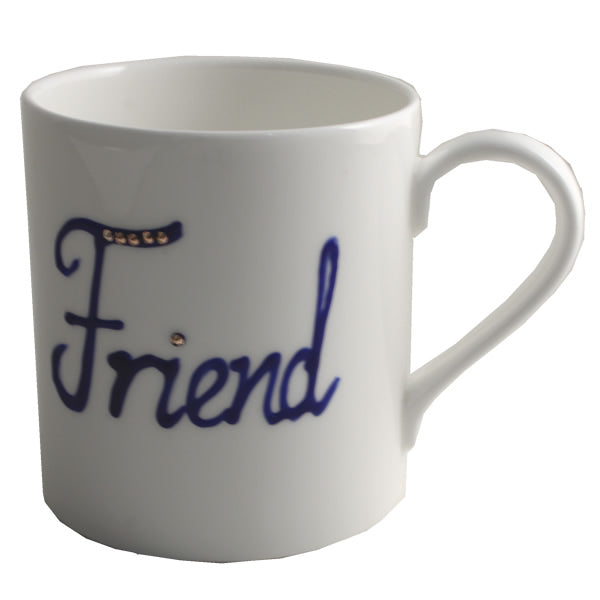 Personalised Fine Bone China Tea/Coffee Mug with crystals (Blue)