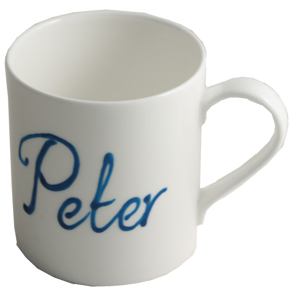Personalised Fine Bone China Tea/Coffee Mug with crystals (Turquoise)