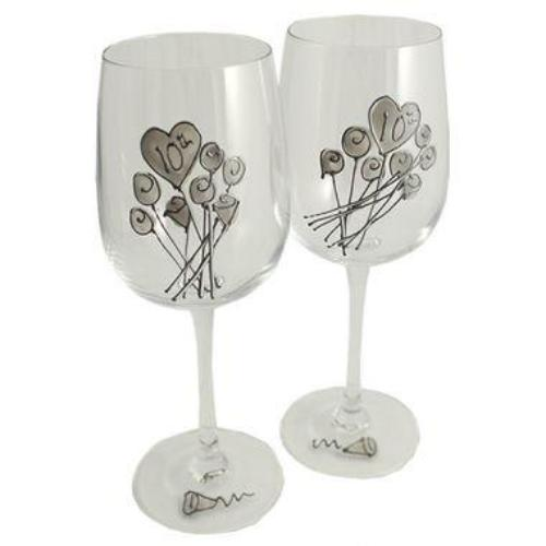 10th Wedding Anniversary Wine Glasses Flower