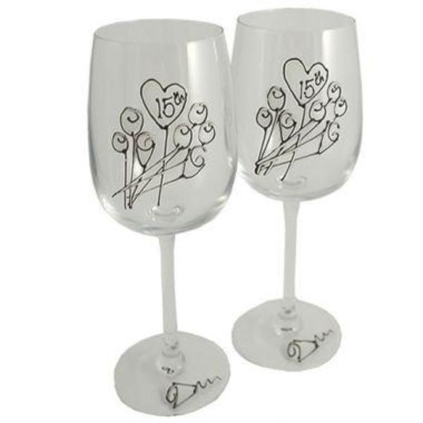 15th Wedding Anniversary Wine Glasses Flower