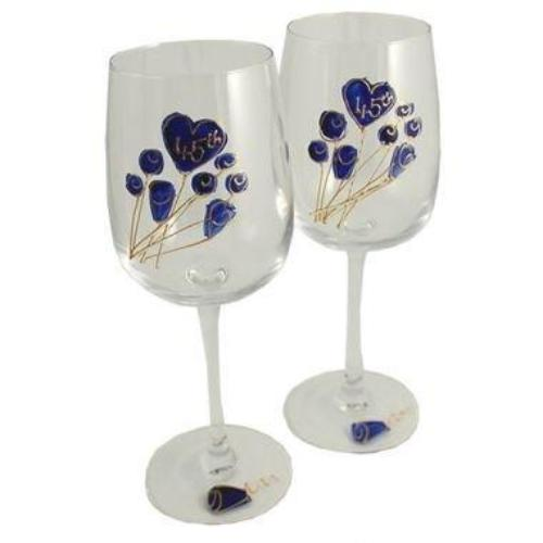 45th Wedding Anniversary Wine Glasses Flower