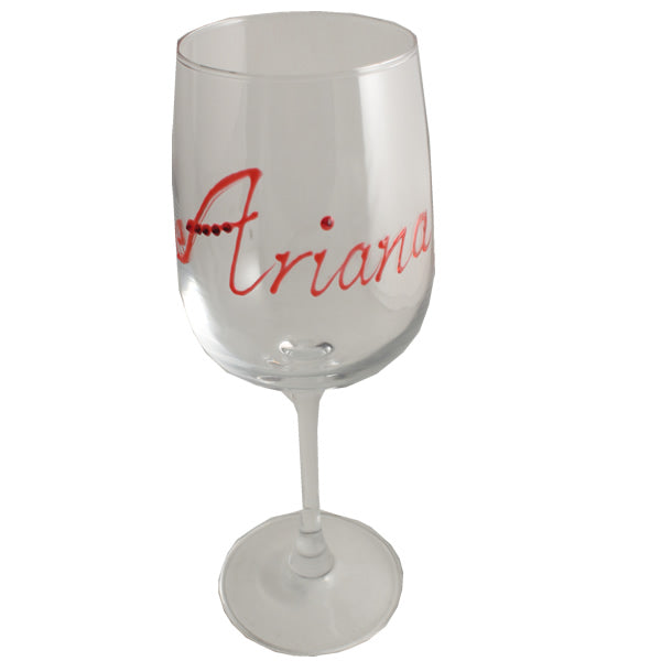 Personalised Wording Gift Wine Glass: with Crystals (Red)