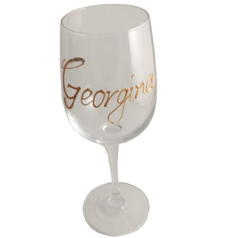 Personalised Wine Glass with Crystals (Gold)