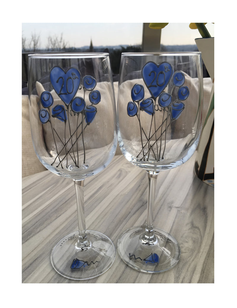 20th Anniversary Wine Glasses Flower