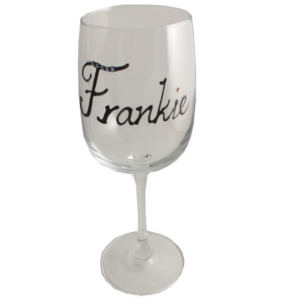 Personalised Wine Glass with Crystals (Black)