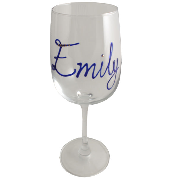 Personalised Wine Glass with Crystals (Blue)