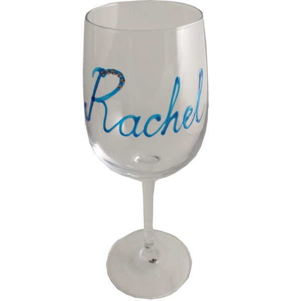 Personalised Wine Glass with Crystals (Turquoise)