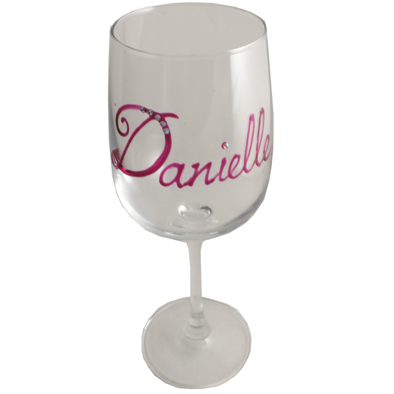 Personalised Wine Glass with Crystals (Magenta)