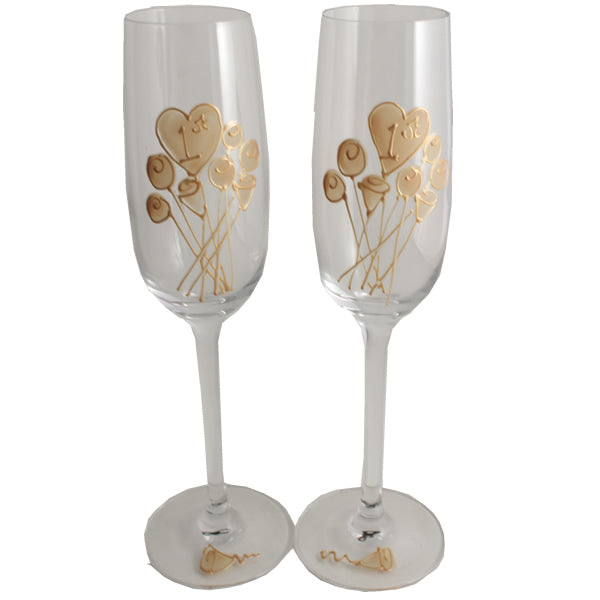 1st Wedding Anniversary Champagne Glasses: (Flower)