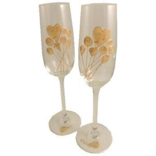 1st Wedding Anniversary Champagne Glasses Flower
