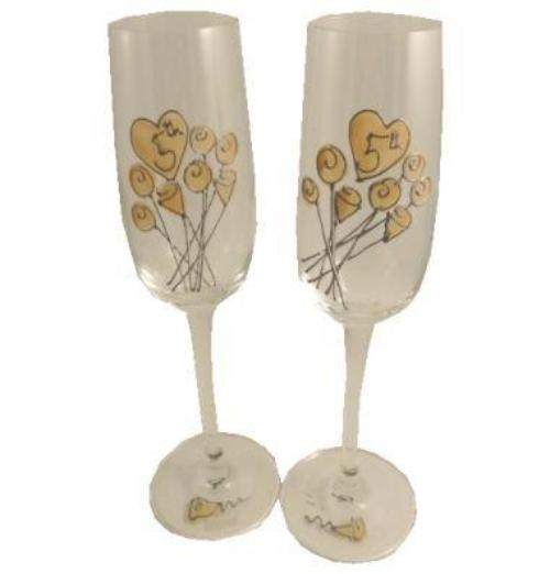 5th Wedding Anniversary Champagne Glasses Flower