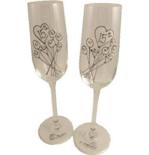 15th Wedding Anniversary Champagne Glasses Flower