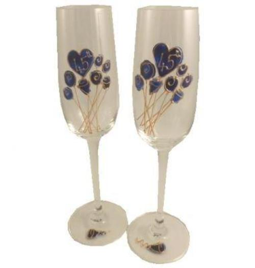 45th Wedding Anniversary Champagne Glasses Flower