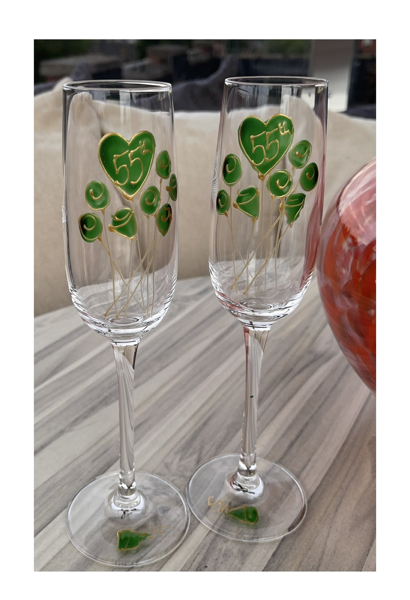 55th Wedding Anniversary Champagne Glasses Flower