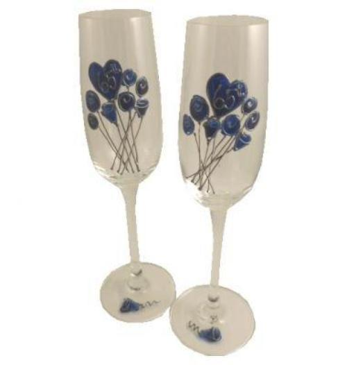 65th Wedding Anniversary Champagne Glasses Flower